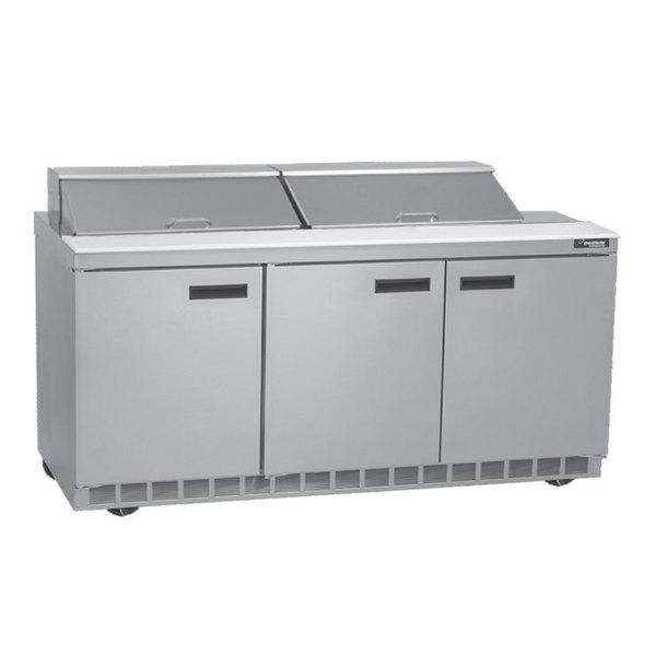 "Delfield UC4472N-24M 72"" 3 Door Mega Top Reduced Height Refrigerated Sandwich Prep Table"