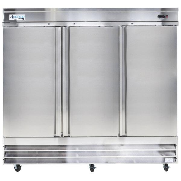 Avantco CFD-3RR 81 inch Three Section Solid Door Reach in Refrigerator