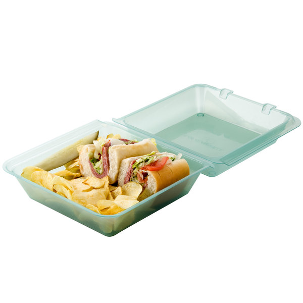 "GET EC-02 9"" x 9"" x 3 1/2"" Jade Green Customizable Reusable Eco-Takeouts Container - 12/Pack"