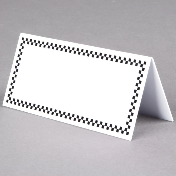 Rectangular Write On Deli Tent Sign with Black Checkered Border - 25/Pack