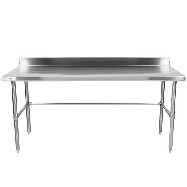 "Regency 30"" x 72"" 16-Gauge 304 Stainless Steel Commercial Open Base Work Table with 4"" Backsplash"