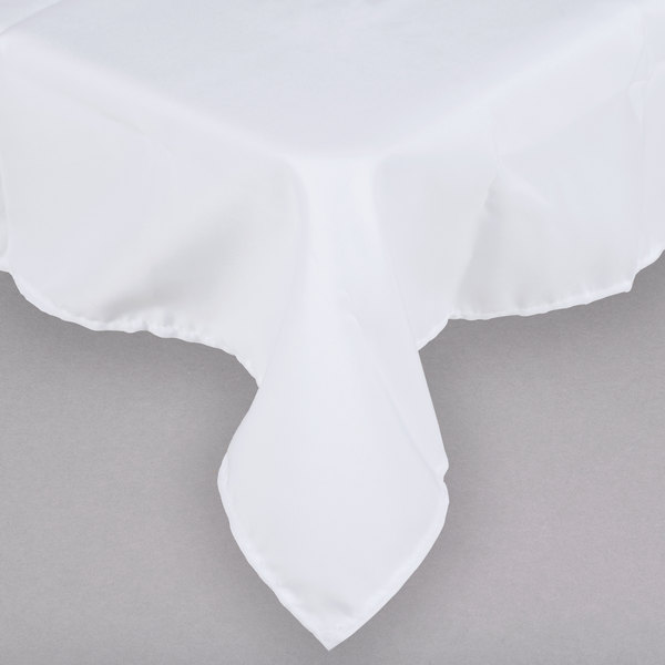 """45"""" x 45"""" White 100% Polyester Hemmed Cloth Table Cover"""