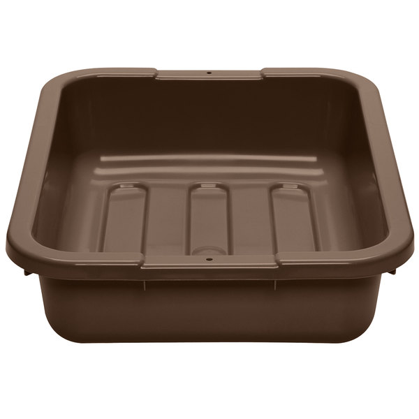 "Cambro 1520CBP131 Poly Cambox 20"" x 15"" x 5"" Dark Brown Polyethylene Bus Tub with Ribbed Bottom Main Image 1"