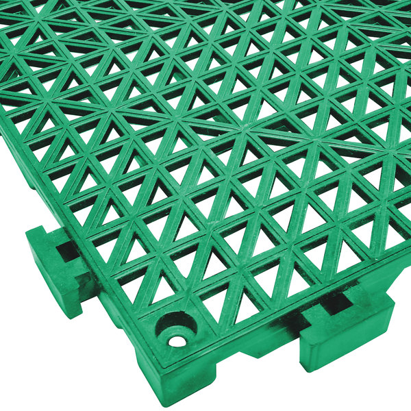 "Cactus Mat 2557-GT Poly-Lok 12"" x 12"" Green Vinyl Interlocking Drainage Floor Tile - 3/4"" Thick"