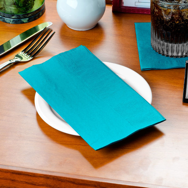 "Teal Paper Dinner Napkin, Choice 2-Ply Customizable, 15"" x 17"" - 1000/Case"