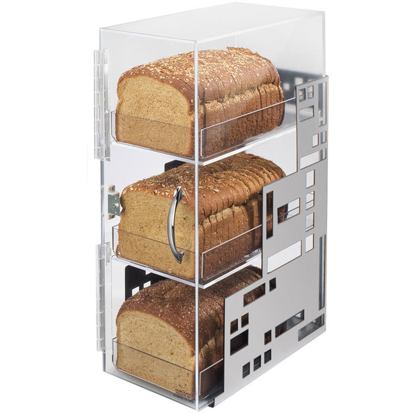 "Cal-Mil 1614-55 Squared Three Tier Silver Steel Bread Case - 7"" x 12"" x 20"""