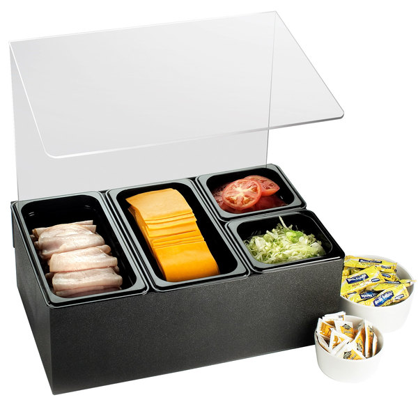 Cal-Mil 1102 Classic 4-Compartment Rectangle Condiment Bar with Sneeze Guard Main Image 1