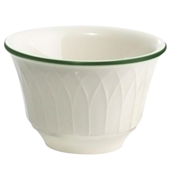 Homer Laughlin 1430-0330 Green Jade Gothic Off White 7.5 oz. China Bouillon Bowl - 36/Case Main Image 1