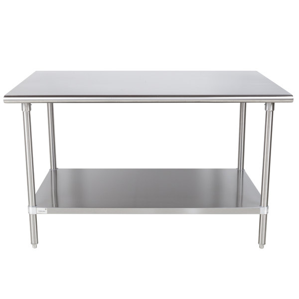 "Advance Tabco Premium Series SS-365 36"" x 60"" 14 Gauge Stainless Steel Commercial Work Table with Undershelf"