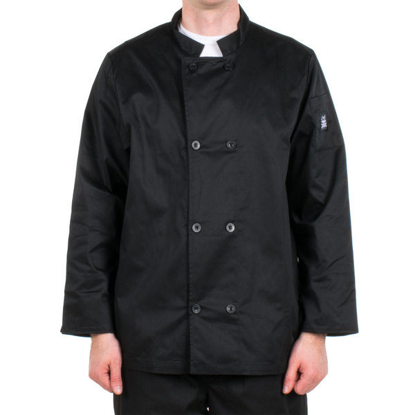 Chef Revival Bronze J061BK-XS Size 32 (XS) Black Customizable Double Breasted Chef Coat - Poly-Cotton