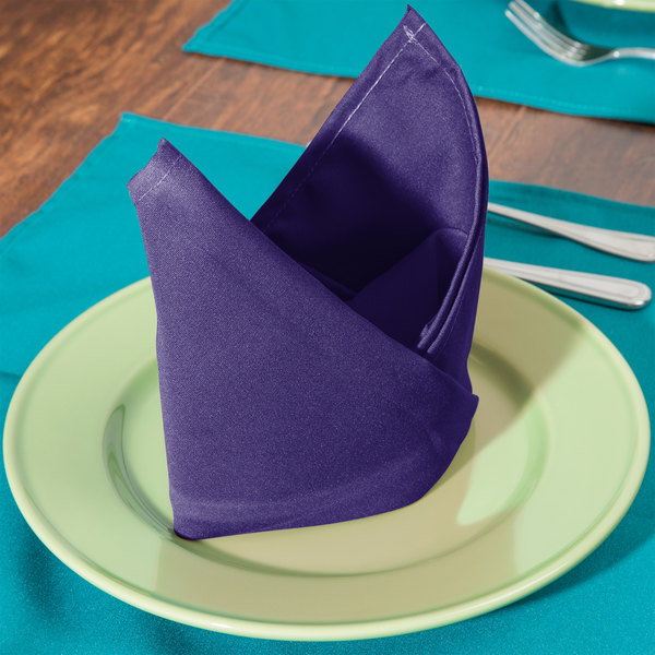 "22"" x 22"" Purple Hemmed Polyspun Cloth Napkin - 12/Pack"
