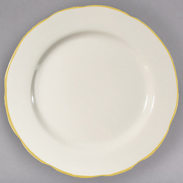 """7 3/8"""" Ivory (American White) Scalloped Edge China Plate with Gold Band - 36/Case"""
