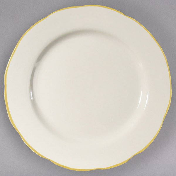 "7 3/8"" Ivory (American White) Scalloped Edge China Plate with Gold Band - 36/Case Main Image 1"