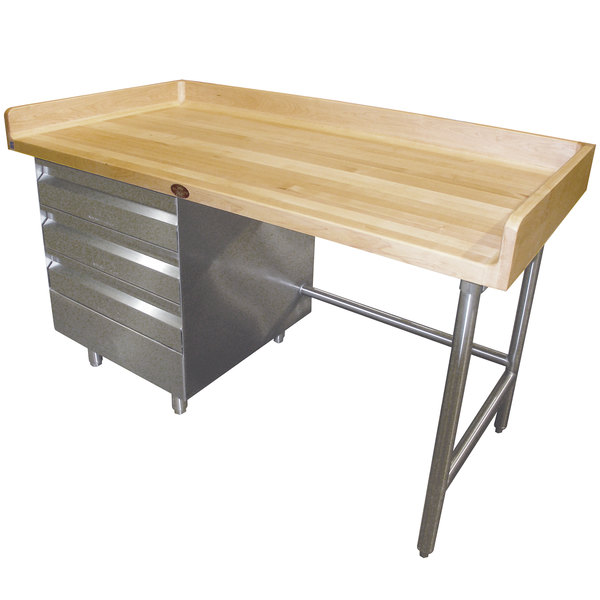 "Left-Side Drawer Unit Advance Tabco BGT-308 Wood Top Baker's Table with Galvanized Base and Drawers - 30"" x 96"""