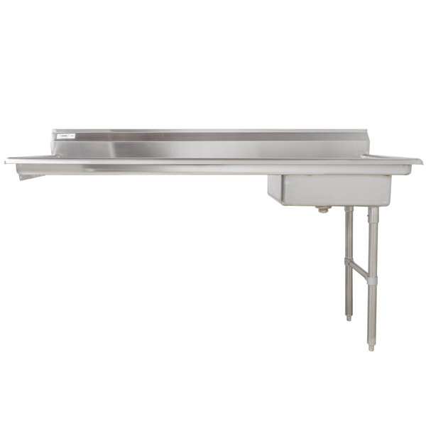"Right Drainboard Regency 72"" 16-Gauge Stainless Steel Soiled / Dirty Undercounter Dishtable"
