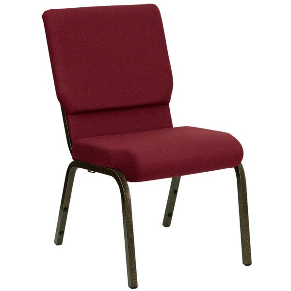 "Flash Furniture XU-CH-60096-BY-GG Burgundy 18 1/2"" Wide Church Chair with Gold Vein Frame Main Image 1"