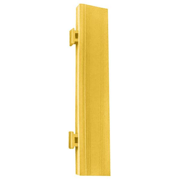 "Cactus Mat 2557-YMCR Poly-Lok 2 1/2"" x 14"" Yellow Vinyl Interlocking Drainage Floor Tile Corner Ramp with Male End - 3/4"" Thick"