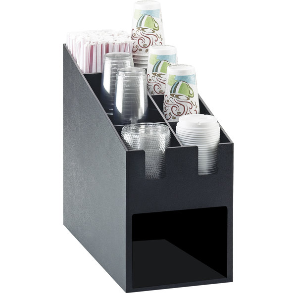 """Cal-Mil 2046 Classic Cup / Lid / Straw Organizer with Napkin Dispenser Slot - 9 1/4"""" x 19 1/4"""" x 16 3/4"""""""