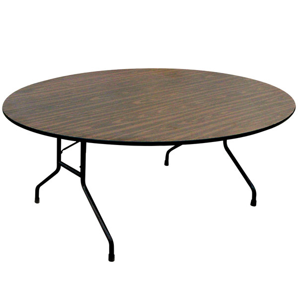 Correll Round Folding Table 60 Melamine Top Walnut Cf60mr Main Picture