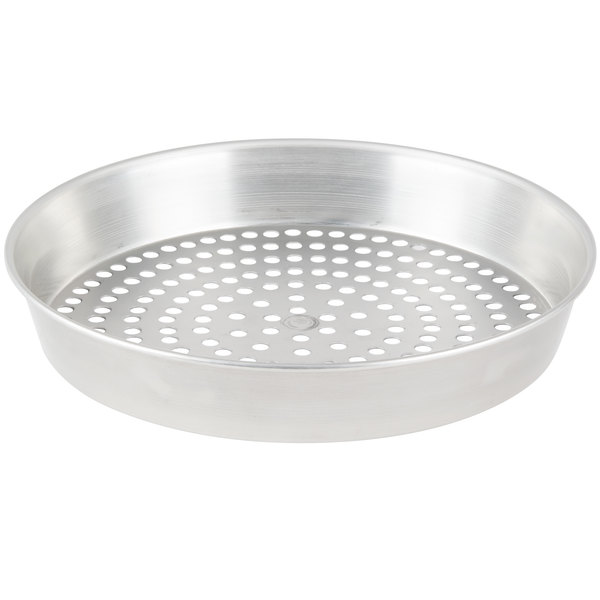 "American Metalcraft SPT90082 8"" x 2"" Super Perforated Tin-Plated Steel Tapered / Nesting Pizza Pan"