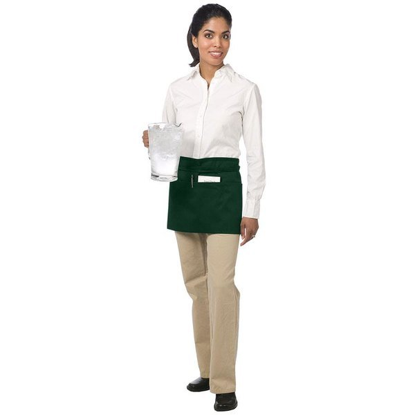 """Chef Revival 605WAFH-HG Customizable Hunter Green Front of the House Waist Apron - 12""""L x 24""""W"""