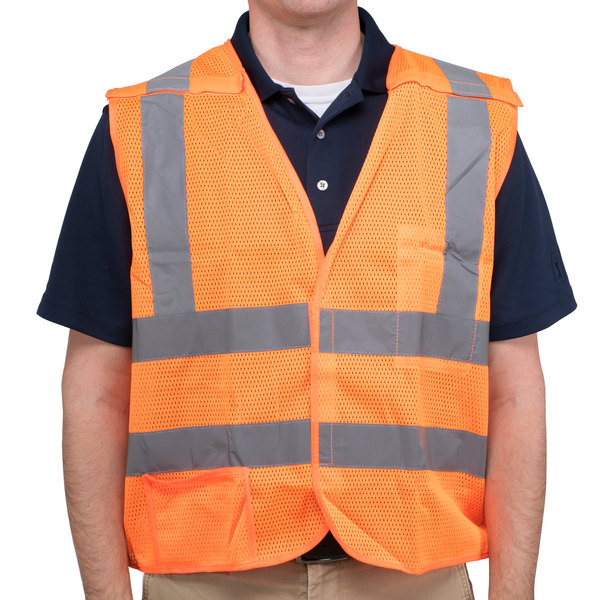 Orange Class 2 High Visibility 5 Point Breakaway Safety Vest - Large Main Image 1