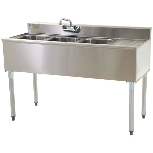 Right Drainboard Eagle Group B4 3 Compartment Under Bar Sink with One Drainboard and Splash Mount Faucet 48""