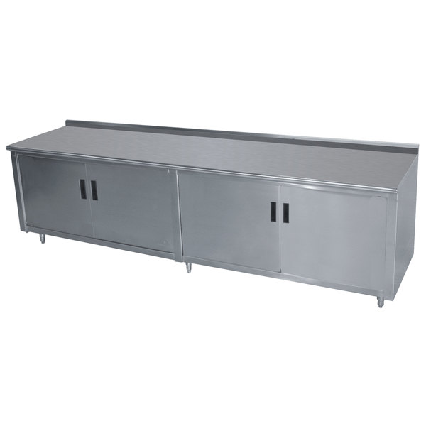 """Advance Tabco HF-SS-309M 30"""" x 108"""" 14 Gauge Enclosed Base Stainless Steel Work Table with Fixed Midshelf and 1 1/2"""" Backsplash"""