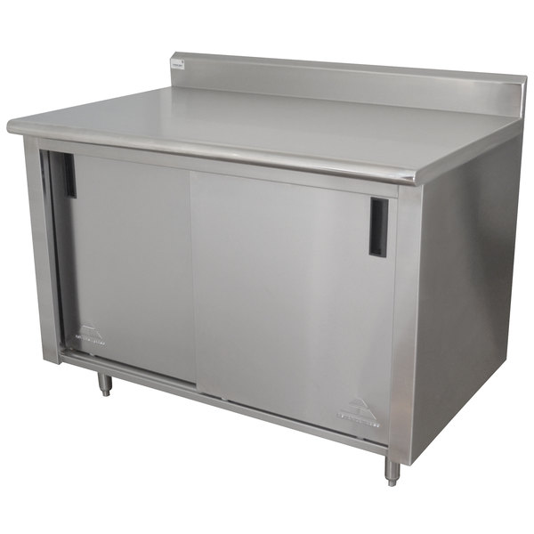 """Advance Tabco CK-SS-306M 30"""" x 72"""" 14 Gauge Work Table with Cabinet Base and Mid Shelf - 5"""" Backsplash"""