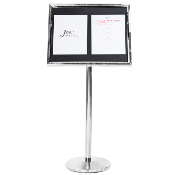 Aarco P-5C Chrome Single Pedestal Sign Board