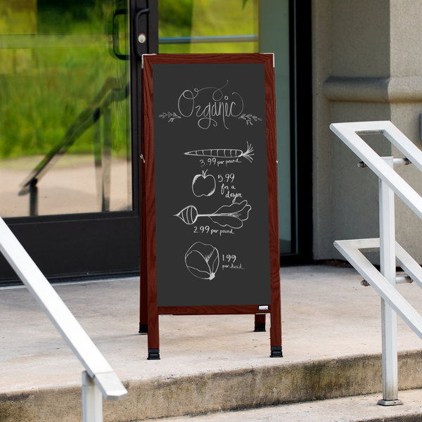 "Aarco MA-3B 42"" x 18"" Cherry A-Frame Sign Board with Black Write On Chalk Board Main Image 10"