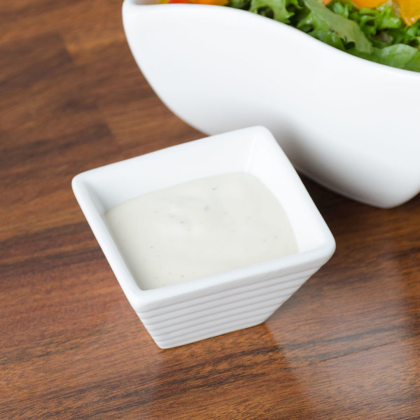 American Metalcraft SCR20 2 oz. White Square Ribbed Porcelain Sauce Cup Main Image 6