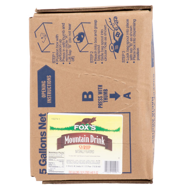 Fox's 5 Gallon Bag In Box Mt. Bev Beverage / Soda Syrup