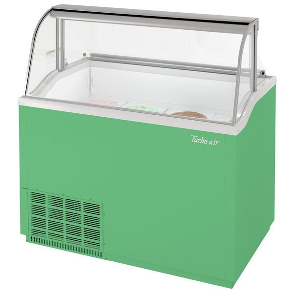 """Turbo Air TIDC-47G 47"""" Green Low Curved Glass Ice Cream Dipping Cabinet"""