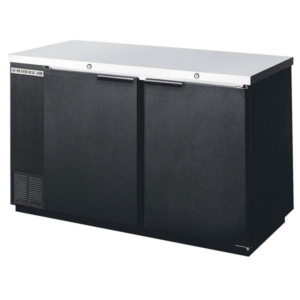 "Beverage Air BB58-1-BK 58"" Black Back Bar Wine Series Refrigerator - 2 Solid Door"