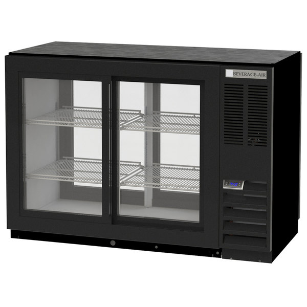 "Beverage-Air BB48HC-1-GS-PT-B 48"" Black Pass-Through Back Bar Refrigerator with Sliding Glass Doors - 115V Main Image 1"