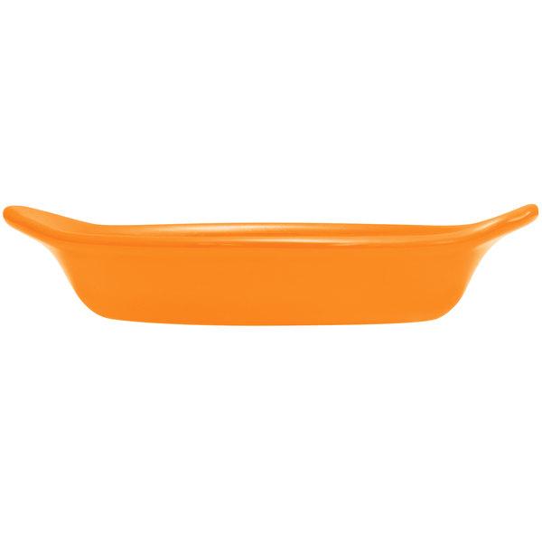 Hall China 30527325 Tangerine 8 oz. Colorations Oval Rarebit / Au Gratin Dish - 24/Case