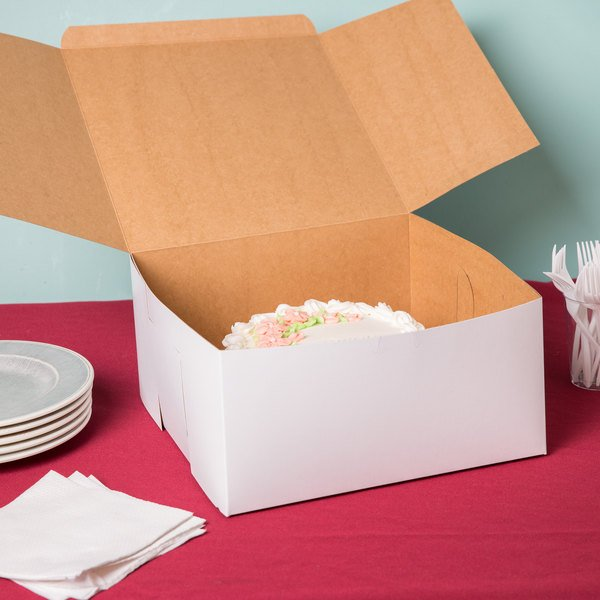 "12"" x 12"" x 6"" White Cake / Bakery Box - 50/Bundle"