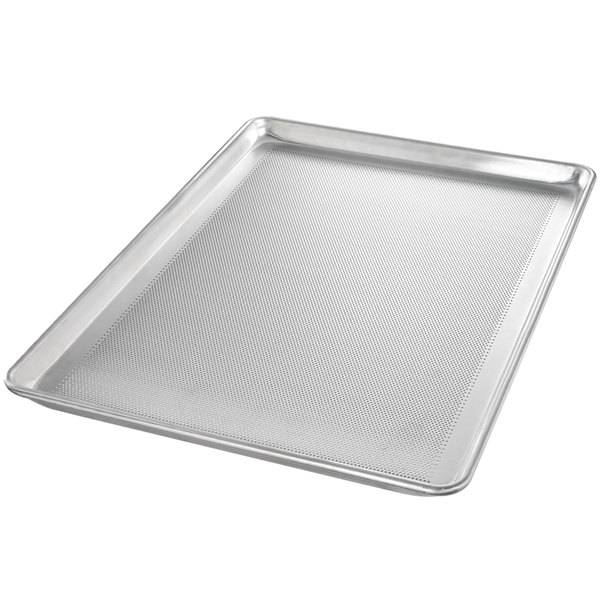 "Chicago Metallic 44697 Perforated Full Size 16 Gauge Aluminum Customizable Sheet Pan - Wire in Rim, 18"" x 26"""