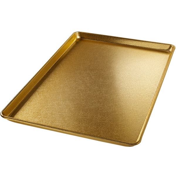 "Chicago Metallic 40910 Gold Full Size Customizable Bakery Display Tray - 18"" x 26"""