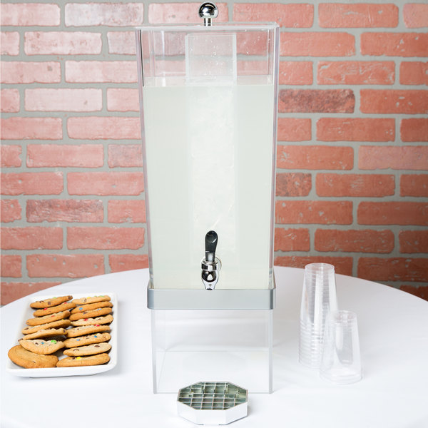 """Cal-Mil 2016-74 Silver 3 Gallon Econo Beverage Dispenser with Ice Chamber - 8"""" x 10"""" x 24"""""""