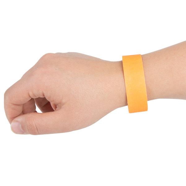 """3/4"""" x 10"""" Neon Orange Disposable Tyvek Wristband - 1000/Box"""