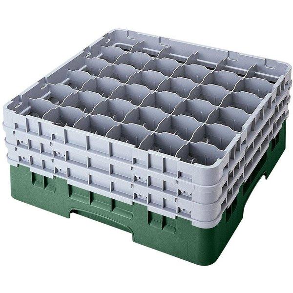 "Cambro 36S738119 Sherwood Green Camrack Customizable 36 Compartment 7 3/4"" Glass Rack"
