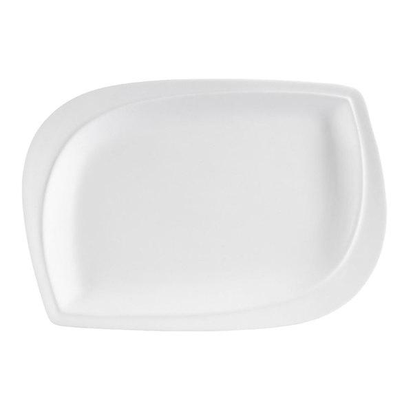 """CAC ASP-33 Aspen Tree Bone White Porcelain 8"""" x 5 3/4"""" Platter - 24/Case Main Image 1"""