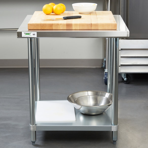 Regency 30 X 30 18 Gauge 304 Stainless Steel Commercial Work Table With Galvanized Legs And Undershelf