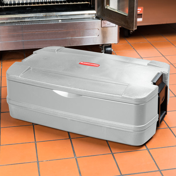 """Rubbermaid FG940600PLAT CaterMax 29 1/2"""" x 19"""" x 10 5/8"""" Platinum Top Loading Insulated Single Food Pan Carrier"""
