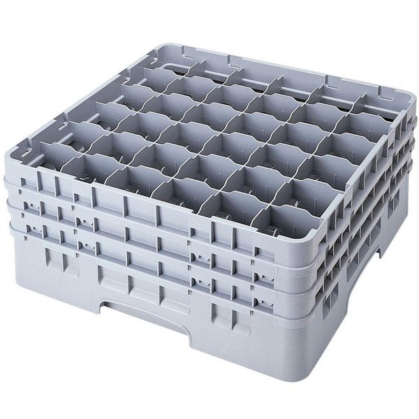 "Cambro 36S1114151 Soft Gray Camrack Customizable 36 Compartment 11 3/4"" Glass Rack"