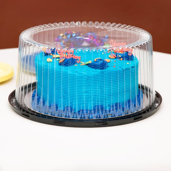 """D&W Fine Pack G40-1 10"""" 2-3 Layer Cake Display Container with Clear Dome Lid - 10/Pack"""