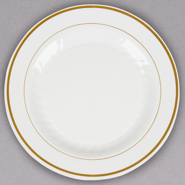 No need to sacrifice style for function with this WNA Comet MP10IPREM 10 1/4  ivory Masterpiece plastic plate with gold accent bands!  sc 1 st  WebstaurantStore & WNA Comet MP10IPREM 10 1/4