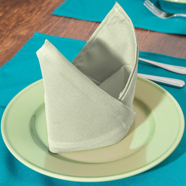 "20"" x 20"" Seafoam Green Hemmed Polyspun Cloth Napkin - 12/Pack"